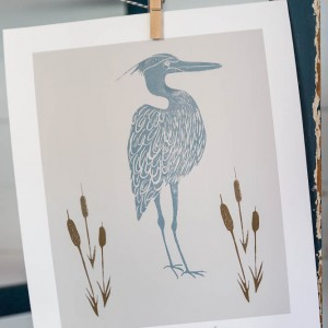 shop-Heron and Bulrushes_
